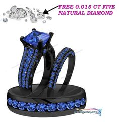 14K Black Gold Men Women HisHer Sapphire Engagement Bridal Wedding Trio Ring Set #Silvergemsjewelry