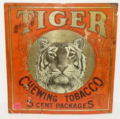 VINTAGE TIGER CHEWING TOBACCO TIN SIGN