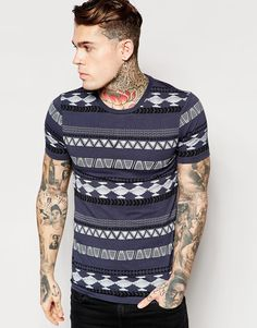 ASOS Muscle T-Shirt With Aztec Print In Grey
