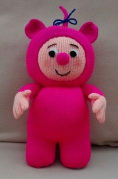 Bam Bam - star of BabyTV s Billy Bam Bam - handknitted soft toy