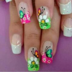 Bonita unas Tropical Nail Designs, Butterfly Nail Designs, Colorful Nail Designs, Nail Art Designs, Cute Nail Art, Cute Nails, Pretty Nails, Purple Nail Art, Wedding Nails Design