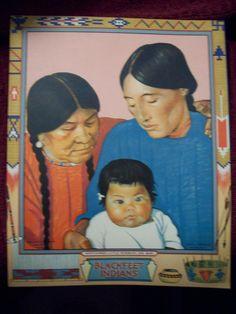 Blackfeet Indians Calendar Top Picture of Print Manyhorses, Little Rosebush & Baby Winold Reiss by kd15 on Etsy