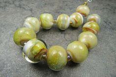 Into the Fire Lampwork Art Beads ~Oro Atrapado~ Artist handmade glass beads SRA