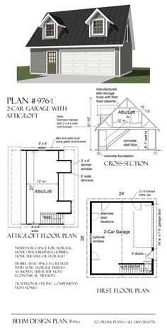 x (make into a one car garage with one dormer) room for workshop on first floor with Brian's office on second floor (Shed Plans With Loft) 2 Car Garage Plans, Garage Plans With Loft, Garage Ideas, Shed Plans, House Plans, Garage Packages, Car Shed, Garage Addition, Garage Entry