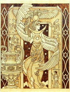 Isis Egyptian Goddess of motherhood and magic wood by YANKA-arts-n-crafts.deviantart.com on @deviantART