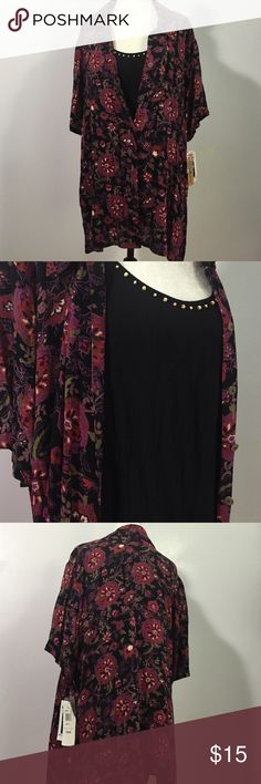 Notations Twinset Fliral Blouse- Sz 1X The look of 2 pieces in one! 100% rayon floral blouse with attached beaded black shell. Brand new!💖💕 Notations Tops Blouses