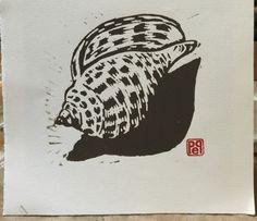 Block Print Junonia Seashell Small Linocut Artist by PollysStudio