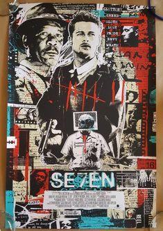 Seven AP Screen Print Poster Signed by James Rheem Davis Best Movie Posters, Movie Poster Art, Cool Posters, Films Cinema, Cinema Posters, Art Vintage, Vintage Movies, I Love Cinema, Screen Print Poster