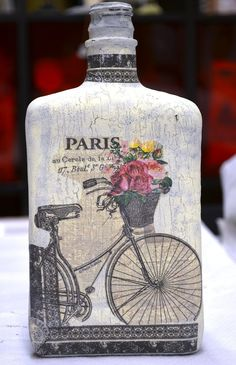 How To Decoupage With Crackle Finish On Glass Bottle. Step 7. Put all patterns on bottle with glue