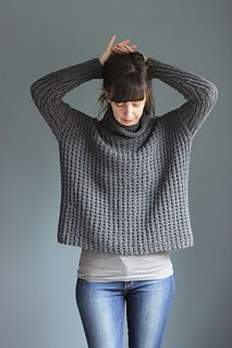 Bosco is an oversized, loose boxy pullover knit seamlessly using chunky/bulky-weight yarn knit up on a needle size larger than you typically would to create a more loose fabric.