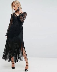 d228d50f367a2 ASOS | ASOS Lace Deep Plunge Fringe Wrap Midi Dress Dress Codes, Lbd, Formal