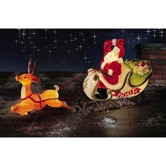 Lifesize Santa w/ Sleigh Reindeer Christmas Blow Mold NEW | eBay