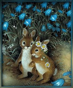 Bunny Art, Cute Bunny, Gif Animé, Animated Gif, Gifs, Easter Greetings Messages, Easter Bunny Pictures, Baby Chickens, Gif Collection