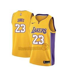 1eb4384f56dda Vente Nouveau Maillot NBA Nike Los Angeles Lakers NO.23 Lebron James Jaune  Icon pas cher