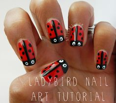 31 Day Challenge: Barry M Bright Red Ladybird Nail Art by Nailtart.com