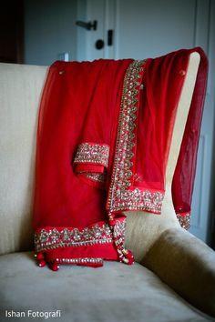 Traditional Indian bridal dupatta. http://www.maharaniweddings.com/gallery/photo/116082