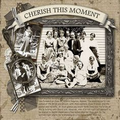 Cherish This Moment...heritage wedding page. Love the left border of ribbon, doilies and netting. An antique magnifying glass placed over the top of one photo enlarges the image and adds great vintage style.