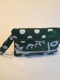 High Top Shoe Zippered Pouch, Green and White  Polka Dot Bag, Wristlet by JazzyJoDesigns on Etsy