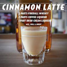 Cinnamon Latte: 3 parts Fireball + 2 parts coffee liqueur + 1 part Irish cream liqueur Fireball Drinks, Fireball Recipes, Liquor Drinks, Alcohol Drink Recipes, Cocktail Drinks, Cocktail Recipes, Beverages, Cocktail Shaker, Fireball Coffee Recipe
