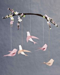 Bird Mobile | Martha Stewart Living - This beautiful bird mobile is a wonderful gift for new moms and a perfect way to add a little charm to any nursery.