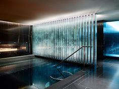 ESPA Vitality Pool at the Corinthia Hotel London. This is a good size. Also like the wall and light treatments.
