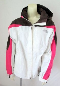 The North Face Pink Brown White Nylon Hooded Hyvent Ski Shell Casual Jacket M #TheNorthFace #BasicJacket