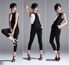 Womens-Black-White-Playsuit-Jumpsuit-Size-8-10-S-NEW
