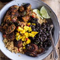 cuban chicken and black bean quinoa bowls with fried bananas + spicy mangoes {recipe}