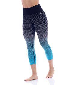Love this Heather Charcoal & Bora Bora Ombré Stripe Seamless Capri Leggings on #zulily! #zulilyfinds