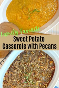Easy sweet potato casserole with a pecan and brown sugar topping. Family favorite side dish, perfect with poultry or ham. fitasafiddlelife.com Sweet Potato Casserole, Pecan, Poultry, Brown Sugar, Ham, Side Dishes, Spices, Potatoes, Dinner