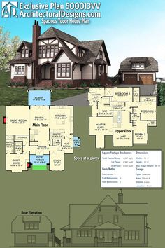 House Plan Discover Architectural Designs Tudor House Plan gives you 5 beds and over 4300 square feet of heated living space. It also comes with a matching detadched garage with bonus space above. Ready when you are. Where do YOU want to build? Sims House Plans, Dream House Plans, House Floor Plans, The Plan, How To Plan, Plan Plan, Tudor House, Maison Tudor, Home Theatre
