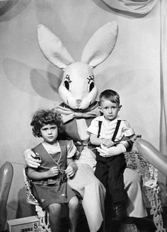 Visiting the Easter Bunny   1950s   #vintage #1950s #easter