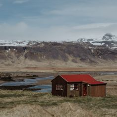 Red Roof, Mountain S, Iceland, Shots, Profile, Europe, Cabin, Rustic, House Styles