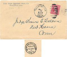 1897 Torrington Connecticut Duplex Cancel on Cover Advertising New Process Nails