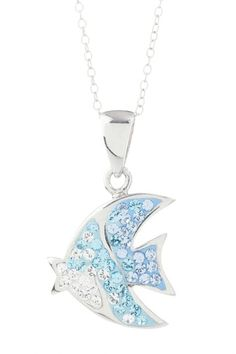 Sterling Silver Blue Fading Crystal Fish Pendant Necklace