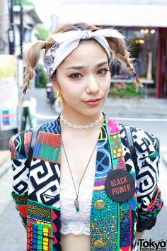 Japanese street style; feeling her #blackpower button and fly blazer
