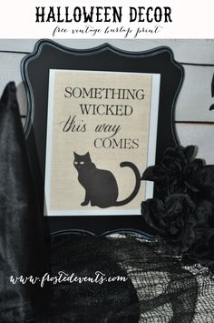 Vintage Halloween Burlap Prints- Free Printables   Halloween decorations you can create at home