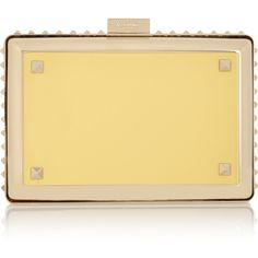 Valentino Studded metal clutch (2,680 CAD) ❤ liked on Polyvore featuring bags, handbags, clutches, yellow, studded purse, strap purse, metal purse, beige handbags and beige purse