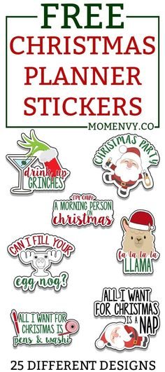 Free Christmas Planner stickers. Funny and cute holiday planner stickers. Perfect for The Happy Planner, Erin Condren, Recollections, TN's, bullet journals, etc. #freeplannerstickers #christmas #christmasprintables #plannerstickers Printable Planner Stickers, Christmas Stickers Printable, Printable Calendars, Christmas Printables, Free Printables, Christmas Clipart, Free Planner, Planner Ideas, Planner Pages