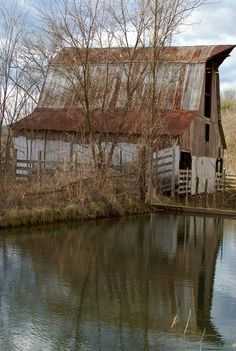 Rusted Barn By Dammed Water