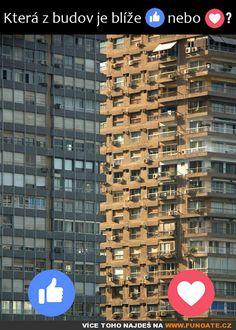 Která z budov je blíže? Eye Illusions, Haha, Blues, Humor, Funny, Quotes, Puzzles, Meme, Facebook