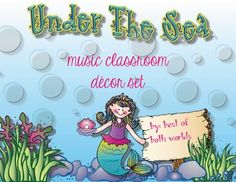 Heres a way to stay under budget and have a fun, decorative coordinated music classroom!!! Simply print this decor set on white cardstock or paper and laminate. If you choose to print in black and white, make sure to go into your printer settings and click on black and white. ~Over 250 printable images~Under the Sea Dcor Set Includes:Music Rules M-ake good choicesU-se good mannersS-ing, speak, playI-nvolve yourself in all activitiesC-onduct yourself appropriatelySolfa PostersSolfa hand signs…