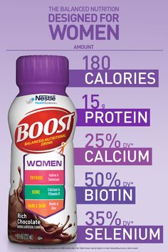 Introducing BOOST Women, balanced nutrition designed for women! Calcium Vitamins, Health Vitamins, Nutrition Drinks, Health And Nutrition, Best Foods For Constipation, Biotin Hair, Bath And Body Works Perfume, Dog Health Tips, Weight Loss Snacks