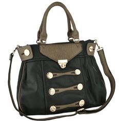 2fb092fec26 A Zoe bag I reckon - Stylish Marching Band Buttons Décor Top Double Handle  Satchel Office Tote Shopper Hobo Handbag Purse Shoulder Bag