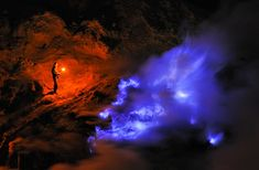Indonesian Volcano Emits Electric Blue Glowing Liquid - CAT IN WATER