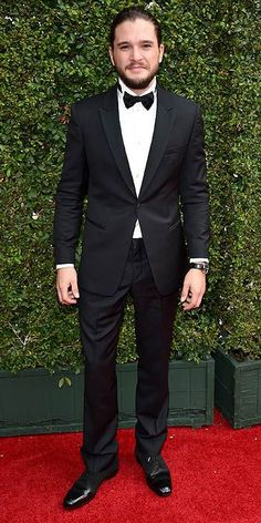 Groom & Groomsmen: Kit Harington rocking a man-bun at the Emmys, perfect style for a wedding