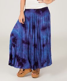 Love this Navy & Black Tie-Dye Maxi Skirt on #zulily! #zulilyfinds