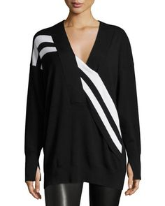 Grace+Striped+Merino+V-Neck+Sweater,+Black/White+by+Rag+&+Bone+at+Neiman+Marcus.
