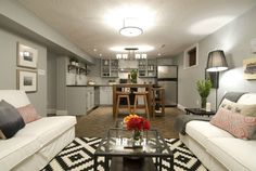 Open kitchen/living space, Jeff & Kirsty #IncomeProperty Basement Renovations, Basement Ideas, Income Property, Basement Apartment, In Law Suite, Pool Houses, Apartment Design, Home Interior Design, Space Saving