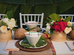 Stylish luau table setting